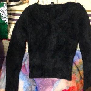 Black faux fur sweater